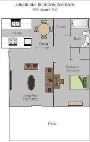 apartment square footage junior one bedroom 558 square feet floor plan olive west