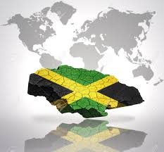 Colors Of Jamaican Flag Map Of Jamaica With Jamaican Flag On A World Map Background Stock