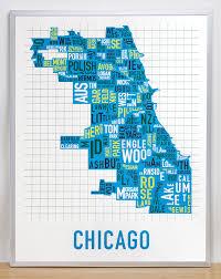 chicago map chicago neighborhood map 22 x 28 multi color screenprint
