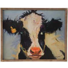 Shop Creative Co Op Wood Frame Cow Canvas Wall Decor
