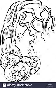 black and white cartoon illustration of halloween pumpkins with