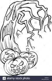 black white cartoon illustration halloween pumpkins