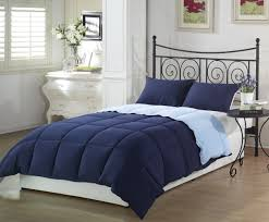 dark navy and light blue plaid reversible down comforter with