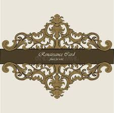 invitation card with renaissance royal classic ornaments stock