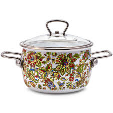 khokhloma vitross imperio white enamel pot product sku set