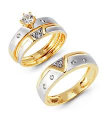 ring wedding two tone 14k gold cz cluster solitaire wedding ring set trio