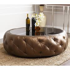 round leather coffee table abbyson living havana golden brown leather round coffee table home
