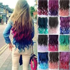 ombre hair extensions clip in 24 colors women two tone ombre hair highlights curly hair colorful