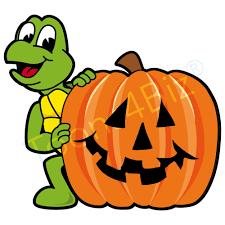 turtle mascot with halloween pumpkin clip art