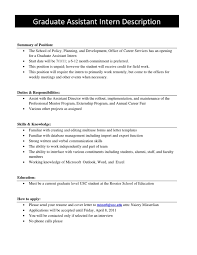 Student Assistant Job Description For Resume by Maintenance Director Job Description Grad Assistant Job