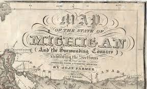 Map Of The State Of Michigan by 1855 Cartouche John Farmer Map Library Msu Libraries