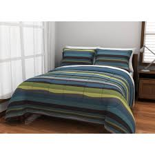 Green Double Duvet Cover American Original Blue Pacific Stripe Reversible Complete Bedding