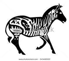 vector tribal zebra illustration tattoo stamp stock vector