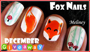 winter forest fox nails animal nail art design tutorial for