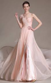 chiffon one shoulder long pearl pink bridesmaid dress with split