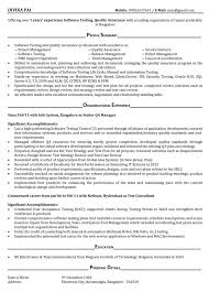 Sample Profiles For Resumes by Testing Resume Sample Mobile Testing Resume Software Testing