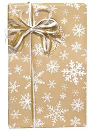 brown gift wrapping paper white snowflake christmas gift wrap wrapping