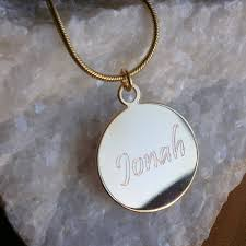 Personalized Gold Name Necklaces Custom Charm Necklace Monogram Disc Necklace Engraved Gold Name