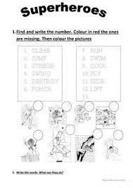 47 free esl super hero worksheets