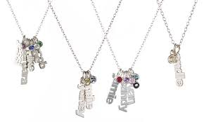 Personalized Sterling Silver Necklace Necklace With Names Birthstones Luce Mia Groupon