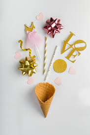 s day decorations s day concept cone and party decorations stock