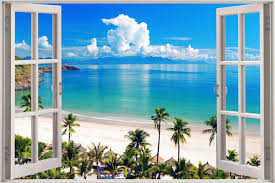 huge 3d window view exotic wall sticker film art decal