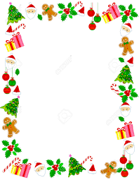 colorful christmas frame border with different clip arts royalty