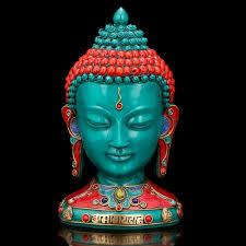 Tibetan Home Decor Turquoise Buddha Bust Statue Buddha Head Tibetan Nepal Home Decor