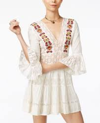 free people antiquity mini embroidered lace dress in 乳白色 modesens