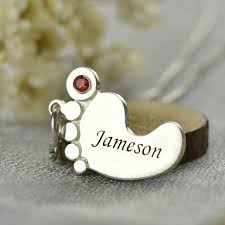 Baby Personalized Jewelry Mothers Baby Feet Necklace With Birthstone U0026 Name
