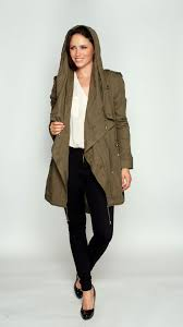 drape front parka coat