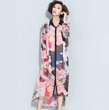 colorful graffiti long shirt for women chiffon maxi shirt dress