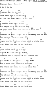 love song lyrics for shannon henry gross 1976 with chords