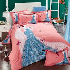Girls Queen Size Bedding Sets by Peacock Blue And Salmon Pink Butterfly Princess Elegant Girls 100