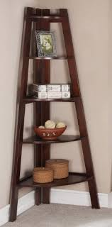 Walnut Corner Bookcase Walnut Finish 5 Tier Corner Display Unit Shelf Rack