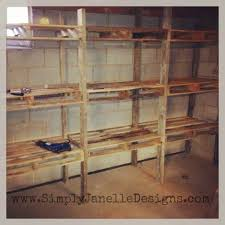 Free Storage Shelf Woodworking Plans by Pallet Shelves In Our Basement Simply Janelle Designs Projects