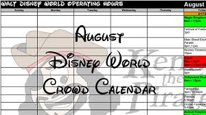 august 2017 disney world crowd calendar and park hours created