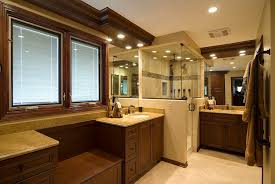 awesome warm basement bathroom themed using beige interior