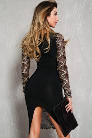 black gold sequin sheer mesh long sleeve bodycon party dress