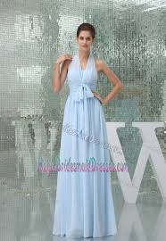 light blue bridesmaid dress for church wedding with sash