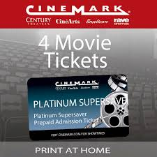 cinemark theatres platinum supersaver 4 pack movie etickets