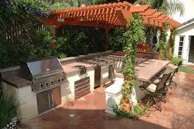 earthy outdoor kitchen idea with hardwood pergola with vines and