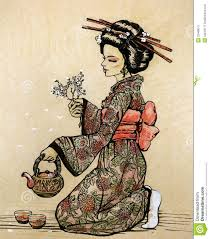 japanese style tea ceremony in japanese style geisha with teapot stock