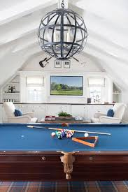 Pool Table Ceiling Lights Room With Vaulted Ceiling Transitional Media Room
