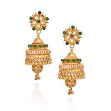 earrings in grt jhumki earrings yellow balls with bell shape with green