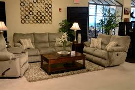 Power Reclining Sofa Set Gavin Reclining Sofa With Drop Table In Taupe Color Fabric