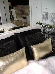Nicole Miller Decorative Pillows by Gold Finger Inspired Bed Dressing Black Satin Sheets Black Fur