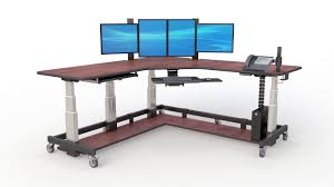 stand up l with shelves l shaped adjustable uplift sit stand up desk youtube
