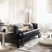 Black Leather Sofa Interior Design Black Leather Tufted Sofa Contemporary Living Room Living Etc