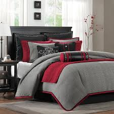 Pixel Comforter Set Grey And Red Comforter Set 6280